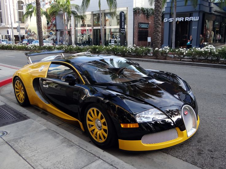 custom yellow black bugatti veyron spotted in beverly hills bijan cars pinterest. Black Bedroom Furniture Sets. Home Design Ideas