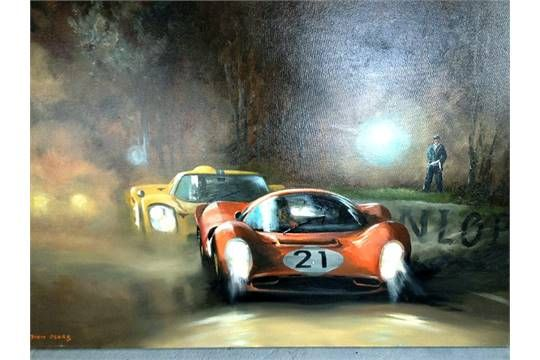 Lot 257 - A Dion Pears original oil on canvas of Le Mans 24 hour race 1967 depicting the Scarfiotti & Parkes P4 followed by the McLaren & Donohue Ford.