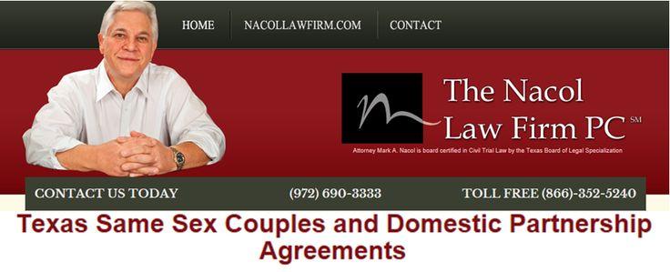 Texas Same Sex Couples and Domestic Partnership Agreements  http://www.nacollawfirmblog.com/same-sex-marriage-in-texas-2/texas-same-sex-couples-and-domestic-partnership-agreements