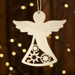 Unfinished Wood Laser Cut Angel Ornament - Christmas Ornaments - Christmas and Winter - Holiday Crafts