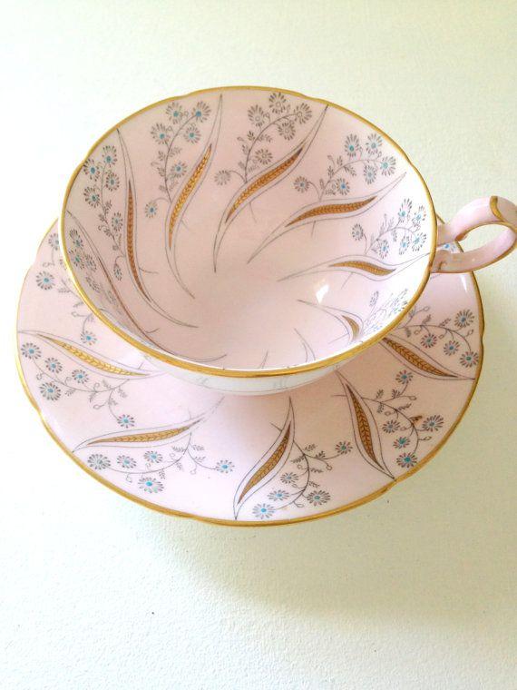 Vintage English Royal Grafton Fine Bone China Teacup and Saucer  Duo Celestine Pattern Tea Party - c. 1957 - 1960
