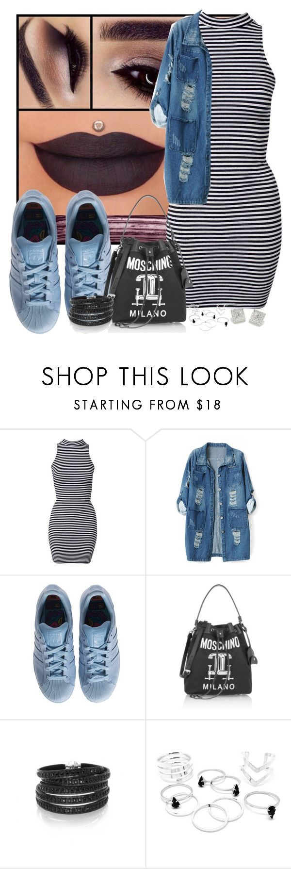 """""""You can keep your money baby ✌🏾️"""" by mrs-brown-carter ❤ liked on Polyvore featuring River Island, Chicnova Fashion, adidas, Moschino, Sif Jakobs Jewellery and CC SKYE"""