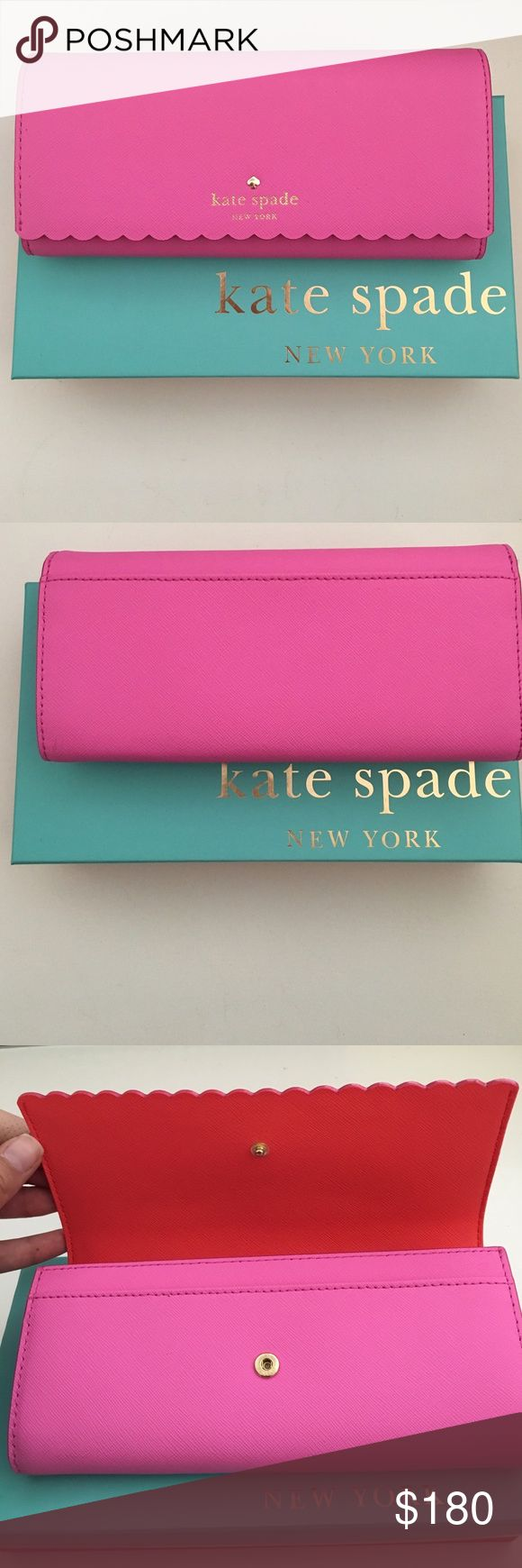 Kate Spade Cindy Wallet Style: Cape Drive Cindy Scalloped Saffiano Leather Wallet.                                                                          Brand new with original tags. Never used. Sold out style & color. Comes with original box & tags. No trades. Kate Spade Bags Wallets