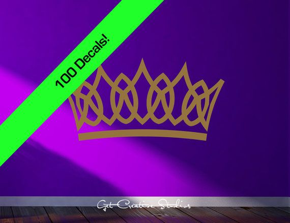 Crown Decal Tiara Gold 100 Count Gorgeous Look Great on a Dark Purple Wall Stickers Wallpaper Design Crown Golden Metallic