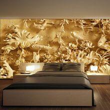 Envío gratis salón TV pared papel tapiz mural estereoscópica 3D tallas estanque paisaje papel pintado WT-097(China (Mainland))