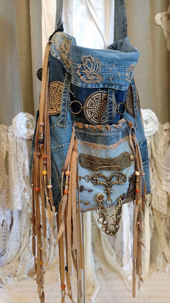Handmade Large Patchwork Denim Bag Fringe Hippie Tote Boho