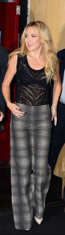 Chic In The City ◆ Kate Hudson in  black print top, pants, and white platform pumps ◆ #LadyLuxuryDesigns