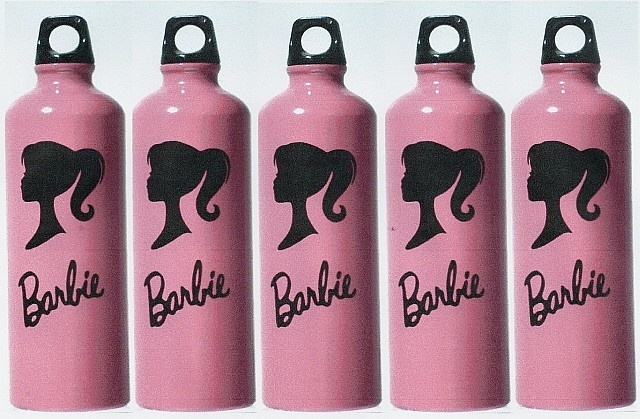 Barbie Vinyl Decal Set of 5 for DIY Party Favors. $6.95, via Etsy.  {FYI: water bottles shown were found at Dollar Tree!}