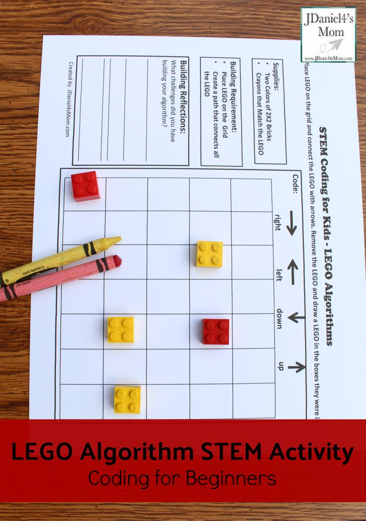 Coding for Beginners - LEGO Algorithm STEM Activity : Your children at home or students at school can use LEGO and a free printable to learn to code and build an algorithm.
