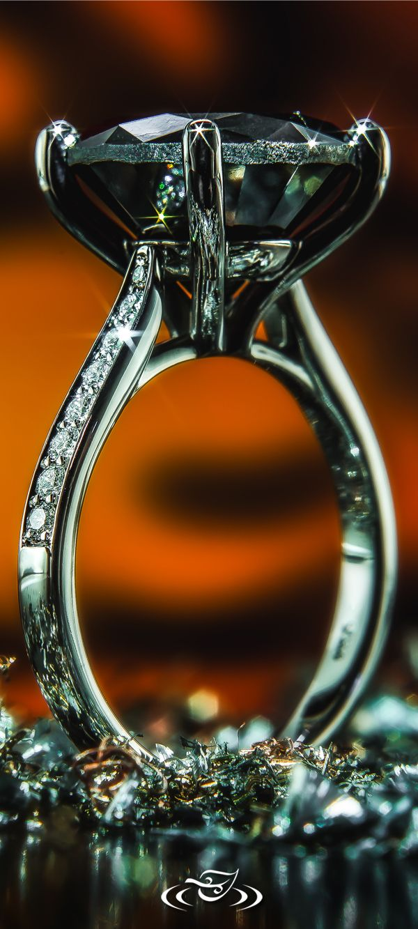 8ct Black Diamond Solitaire in White Gold - Any #Halloween romantics out there? #GreenLakeJewelry #Spooky