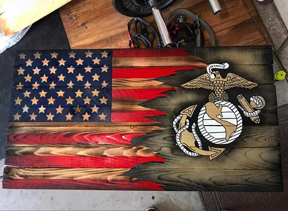 Usmc Upgraded Wood Marine American Flag Ripped Effect With American Flag Wall Art Wooden Flag Patriotic Art Ideas