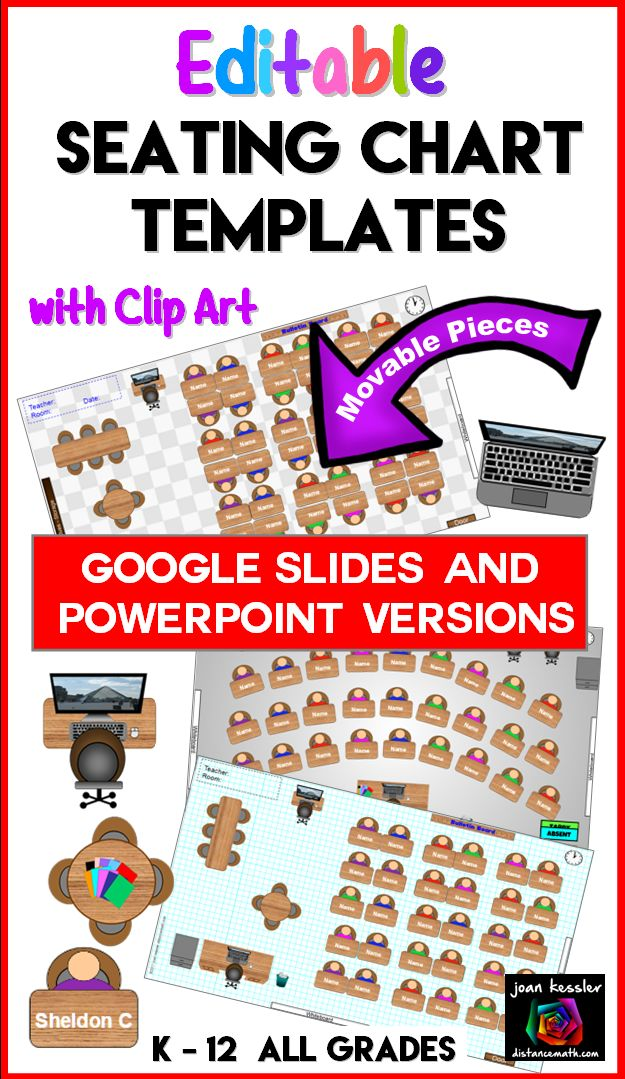 Interactive and flexible seating chart templates. Works online in Google Slides or desktop in PowerPoint for you to  easily arrange your classroom. Movable furniture, editable names, and printable.