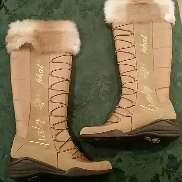 Boots with the fur! Tan Baby Phat boots with fur trim, BNIB. Baby Phat Shoes Winter & Rain Boots