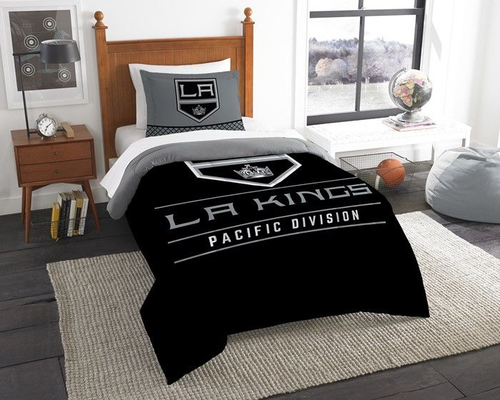 Los Angeles Kings NHL Draft Twin Comforter and Sham Set. Includes 1 Sham and 1 Twin Comforter. Visit SportsFansPlus.com for Details.