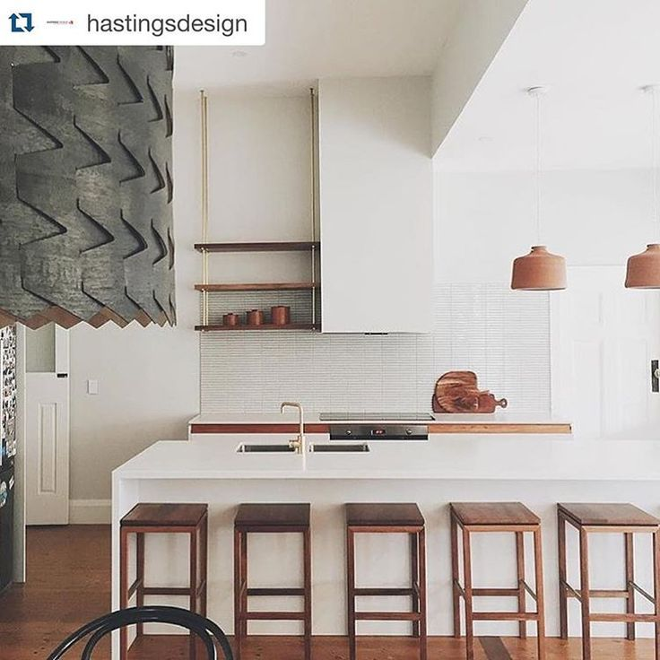 Imagine waking up to this every morning... Hanging shelves, brass touches, timber finishes.  And that delicious Caesarstone Fresh Concrete... Designed by @fabrikate_creative_spaces and built by @hastingsdesign #caesarstone #design #kitchen #inspiration #h