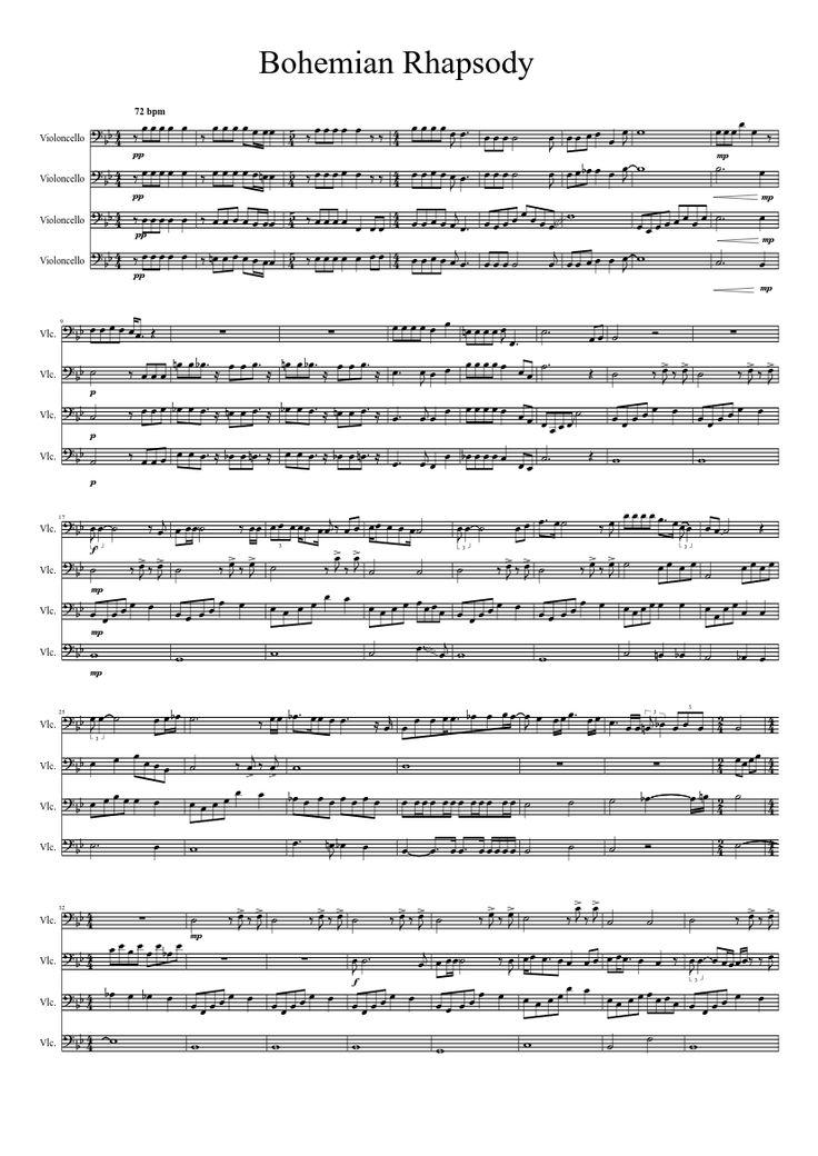 Bohemian Rhapsody for cello quartet  sheet music