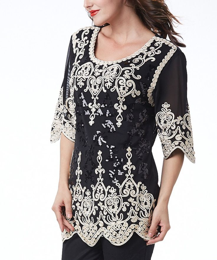 Another great find on #zulily! Simply Couture Black & White Crochet Three-Quarter Sleeve Top by Simply Couture #zulilyfinds