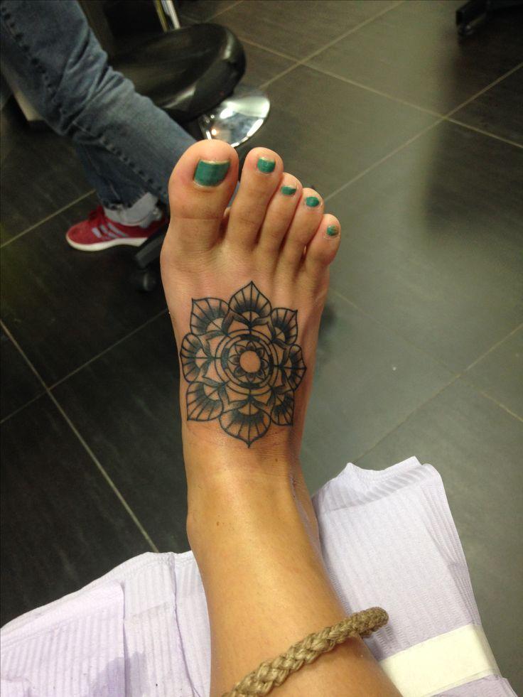 Tattoo.  Foot tattoo.  Lotus flower.  Mandela.  Love.