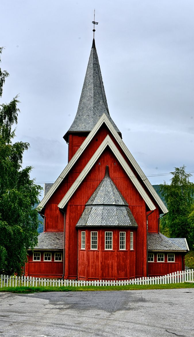 Beautiful red church in Hardanger, Norway.