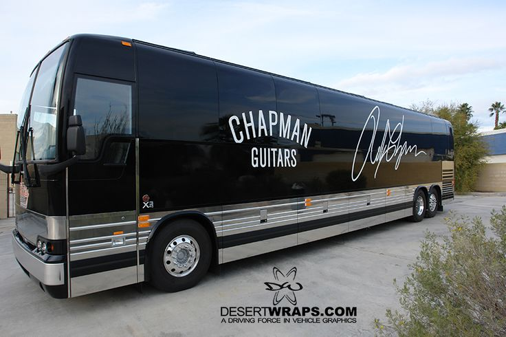 Decals installed on a touring bus for Chapman Guitars. DesertWraps.com 760-935-3600. Palm Desert, Palm Springs, Indio, Cathedral City, Indian Wells, Desert Hot Springs, Yucca Valley.