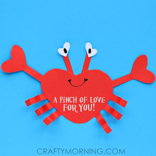 """Make a heart shape crab for a children's valentines day craft! It says """"A pinch of love for you"""""""