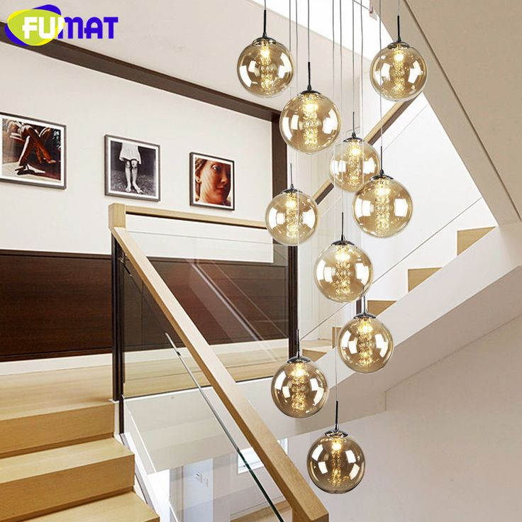FUMAT Modern G4 LED Crystal Glass Ball Lamps Stair Long Crystal Glass Chandelier Lighting Fixture for Staircase Lustre  #Affiliate