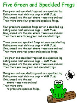 five green and speckled frogs lyrics and craft printables