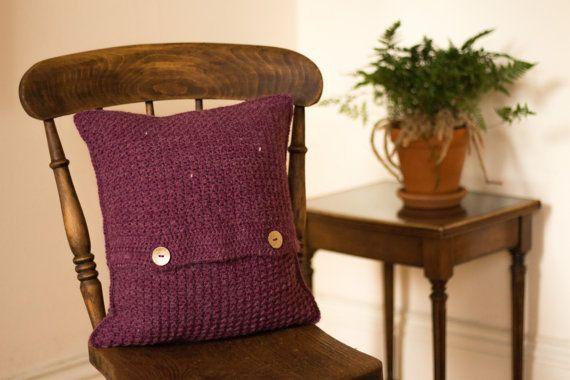 Purple Cushion Cover, Purple Scatter Cushion Cover, Purple Crochet Cushion Cover, Purple Wool Cushion Cover, Purple Accent Cushion Cover