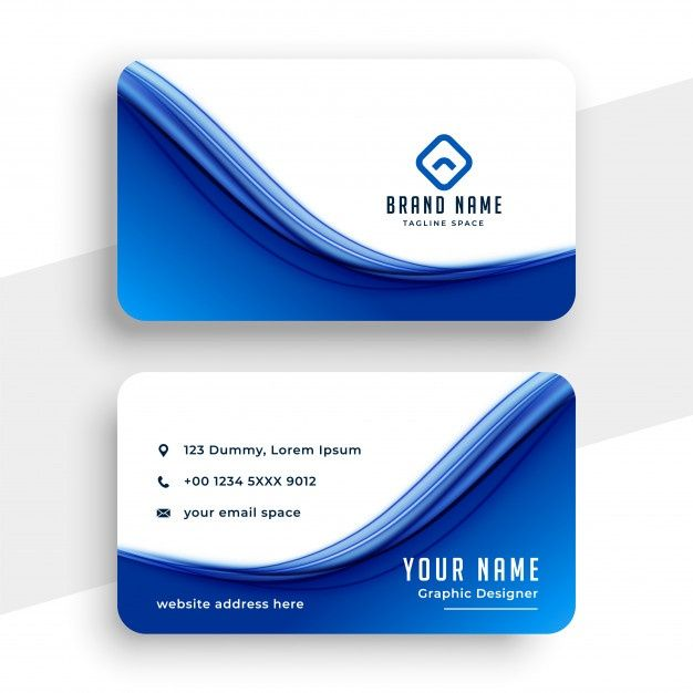 Download Abstract Blue Wave Business Card Template For Free In 2020 Blue Business Card Design Vector Business Card Yellow Business Card
