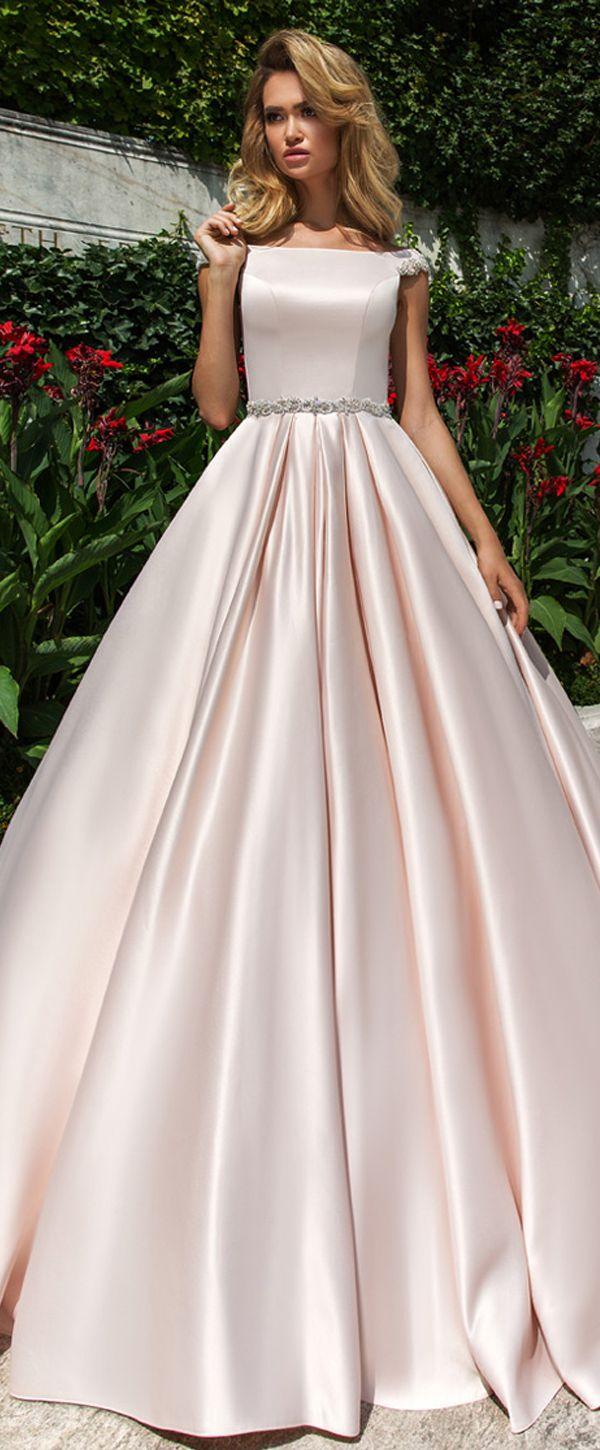 Glamorous Satin Bateau Neckline Natural Waistline A-line Wedding Dress With Belt
