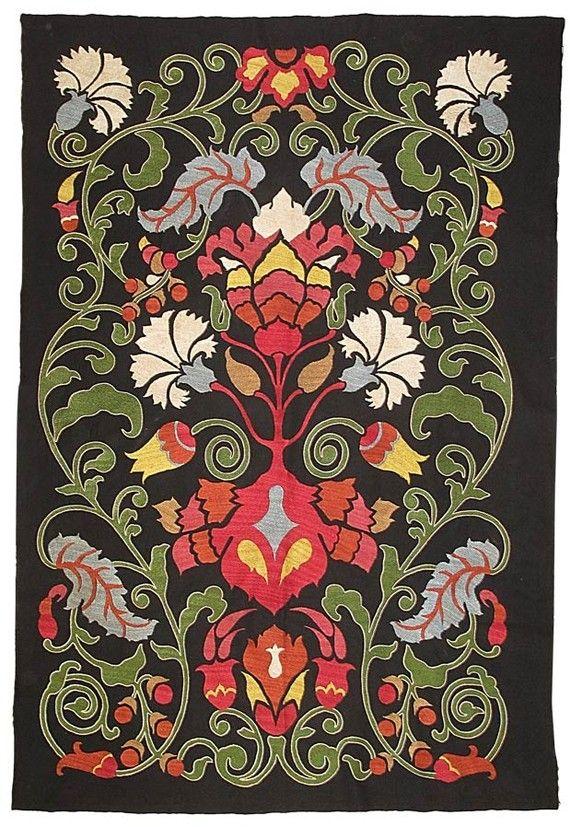 Marvelous uzbek silk handmade embroidery suzani