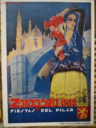 Poster: Zaragoza, Spain. Cartel de Fiestas del Pilar. 1934 ... blue, yellow, red ...