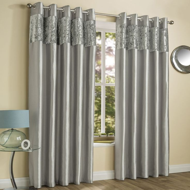 Amalfi Crushed Velvet Fully Lined Ring Top Curtains - Silver Grey