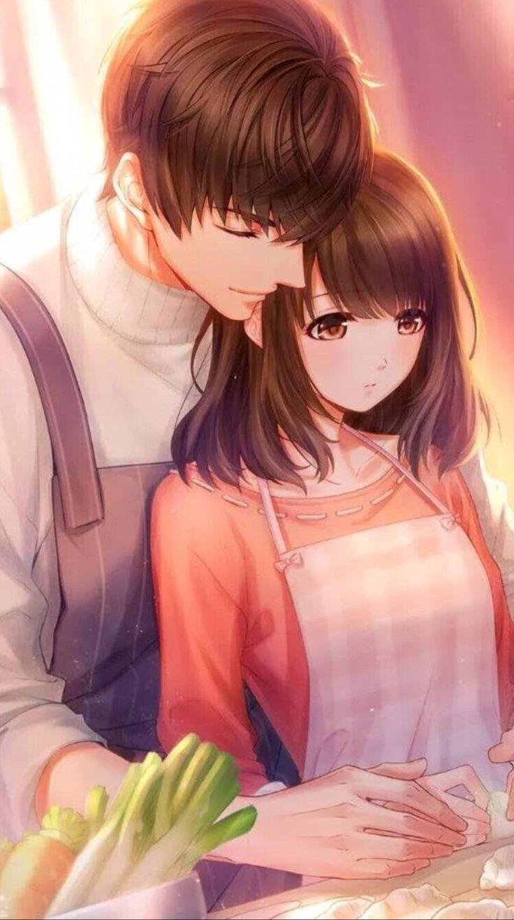 Картинки милые аниме девушки с парнями любовь