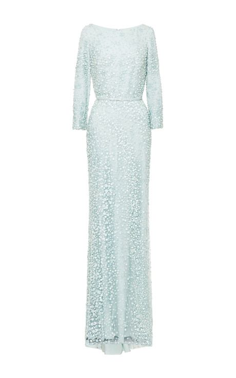 Mint Embroidered Long Sleeve Gown by Elie Saab - Moda Operandi