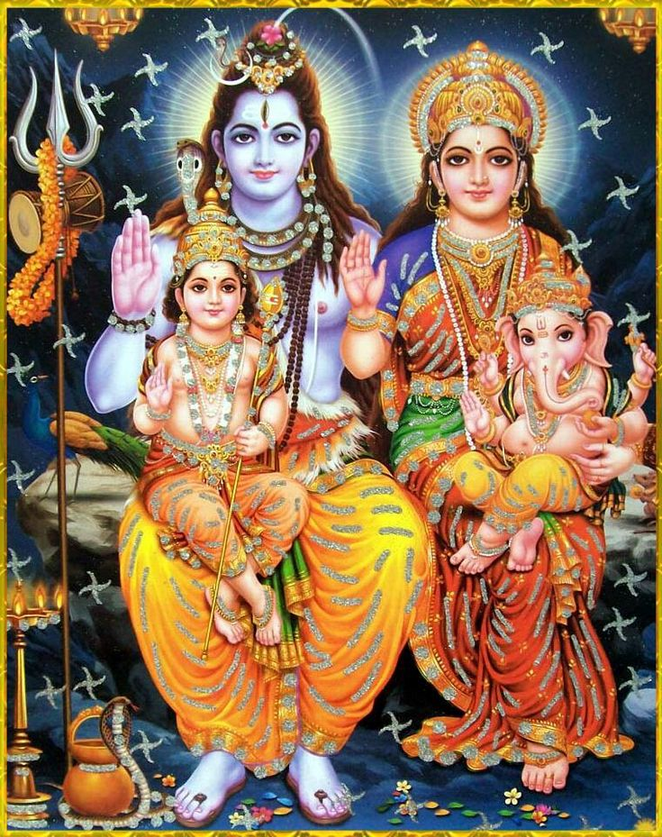 Lord Shiva and Family.  The unmanifest/the inert; the manifest/inertia, without each other the guardian and brother do not exist.  They are elements of the universe where humanity is but a part of.  Shiva, Parvati, Ganesh and Kartikeya.