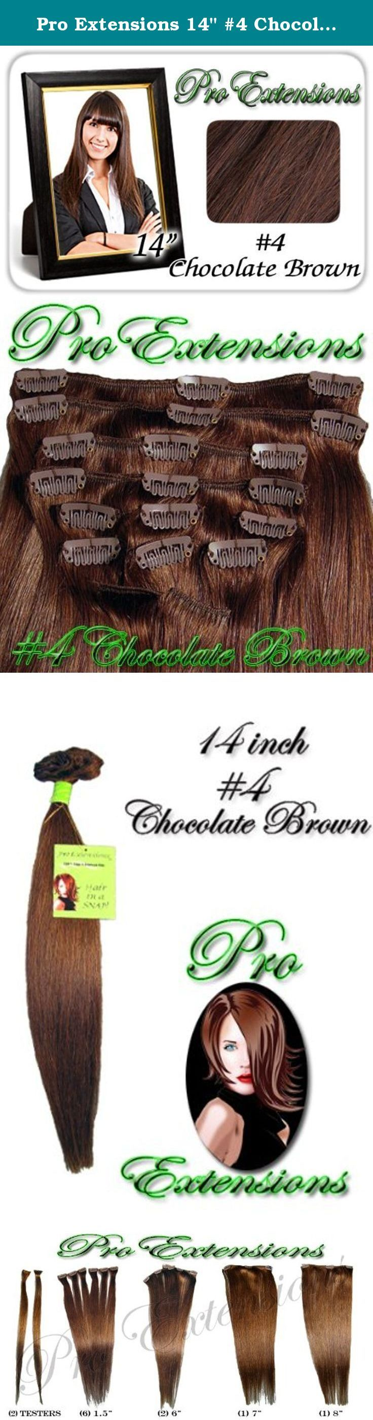 """Pro Extensions 14"""" #4 Chocolate Brown Clip-in Human Hair Extensions. This Pro Extensions clip in hair extension set is Colored #4, CHOCOLATE BROWN. Pro Extensions are 100% human hair extensions. This set of hair extensions is 14"""" long and 39"""" wide. This hair extensions set is Grade A, Color #4, CHOCOLATE BROWN. The set weight is 90 grams. This set of extensions is straight without any body wave. Pro Extensions can add length, volume or texture to your current hair style. The extensions…"""