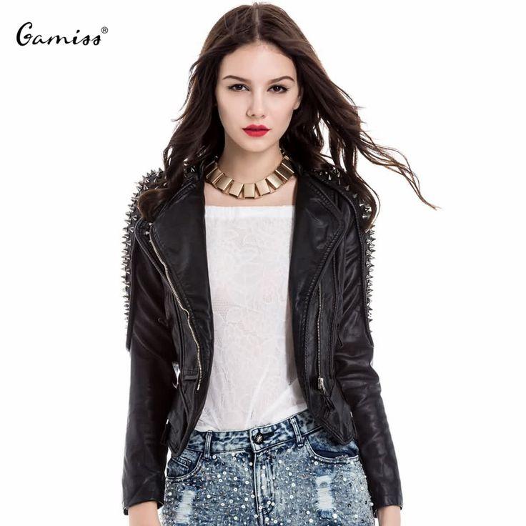 Cheap Donne alla moda di modo giacca bomber donne giacca cappotto turn down collar studded lunga pu custodia in pelle per le donne 1026158, Compro Qualità Giacche di base direttamente da fornitori della Cina: