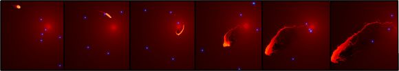 Montage of simulation images showing G2 during its close approach to the black hole at the center of the Milky Way. Images by ESO/MPE/Marc Schartmann