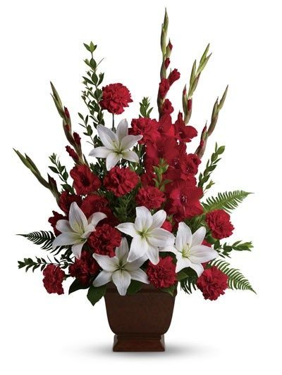 17 best images about flower arrangement for church for Red white blue flower arrangements