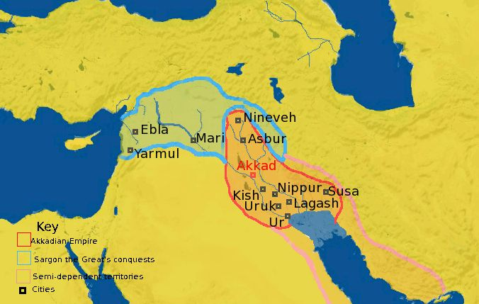 Ancient Assyrian Empire | Map of the Akkadian Empire, showing Sargon's conquests.