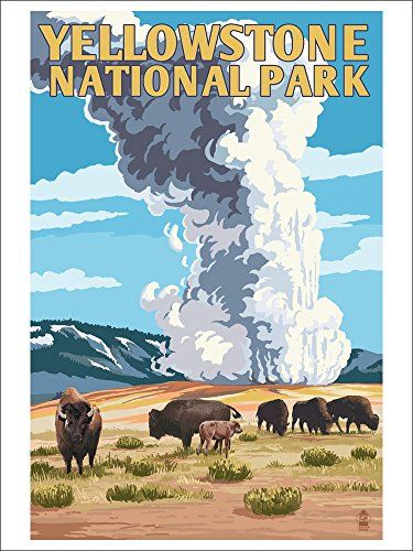 Yellowstone National Park - Old Faithful Geyser and Bison Herd (9x12 Art Print, Wall Decor Travel Poster) Lantern Press http://www.amazon.com/dp/B00N5CGV4Y/ref=cm_sw_r_pi_dp_D8k8wb0044HYZ