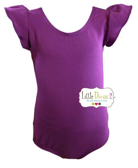 PURPLE LEOTARD (Child) Flutter/Ruffle Sleeve