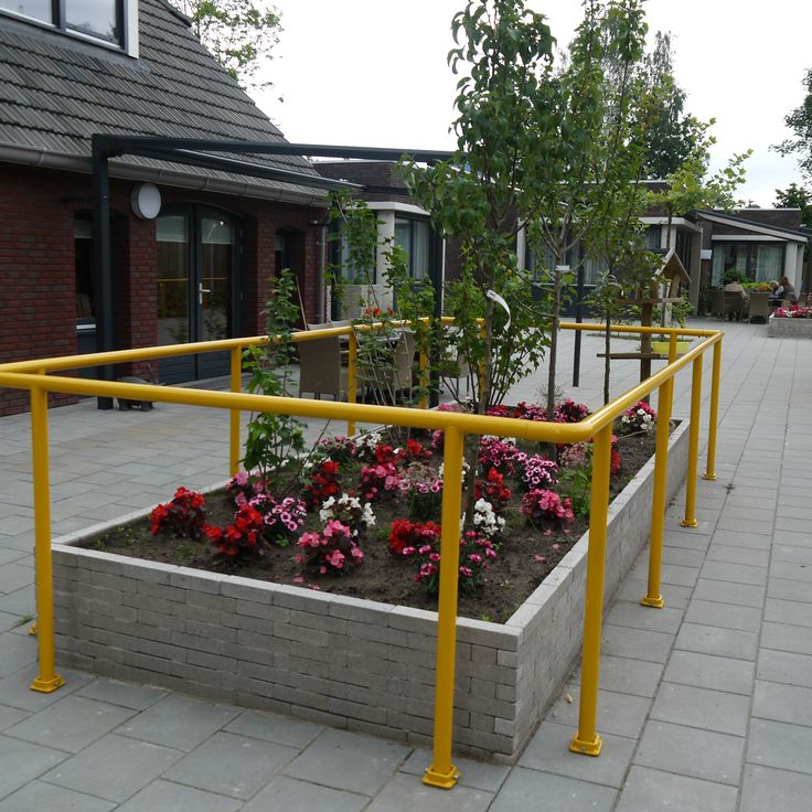 Small fruit trees so the elderly can pick some apples, pears and cherry. The yellow handrail protect the disabled person to fall