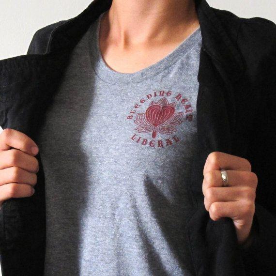 Bleeding Heart Liberal Women's T-Shirt Political by FlowerArtPlace