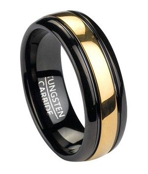 A striking yet luxurious two tone look makes this piece equally suitable as a fashion ring or tungsten wedding band for men. This slightly domed 8mm band is made of gleaming polished black plated tungsten and has a gold tone plated inlay running down its center. To learn more visit: http://www.justmensrings.com/Black-Tungsten-Mens-Ring-With-Gold-Tone-Inlay-8mm_p_1530.html