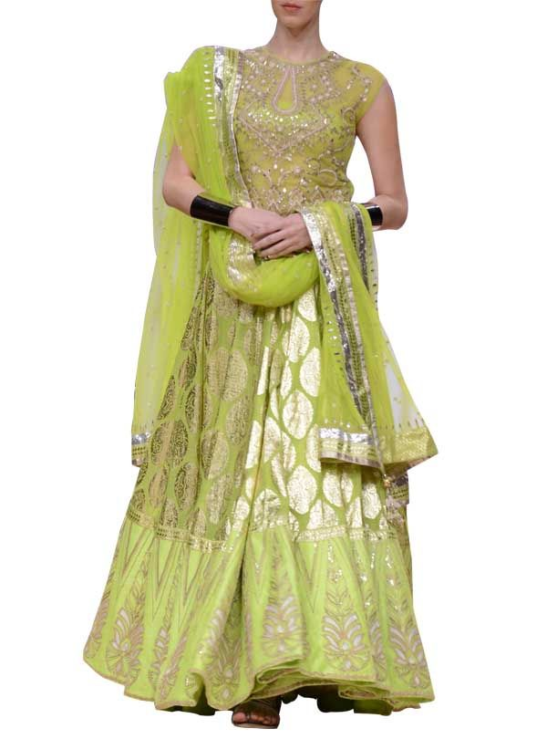 Anita Dongre Lime Brocade Lehenga www.she-is-gorgeous.com