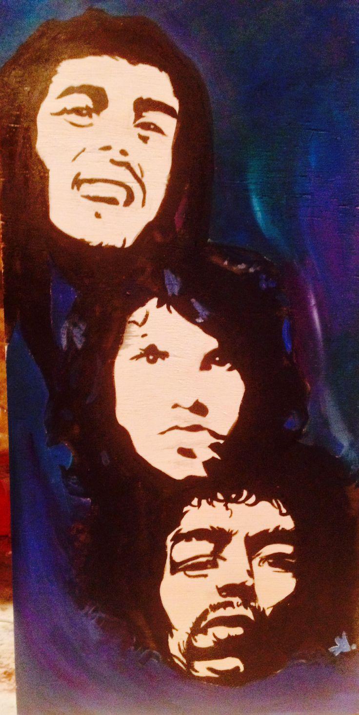 Bob Marley, Jim Morrison, and Jimi Hendrix painting