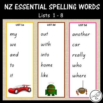 New Zealand Essential Spelling Lists 1-8. 5 words on each card. Can be used in a multitude of ways in your classroom. Suggestions for use: ♦ Spelling activities (eg alphabetical order, words in sentences). ♦ Word study (eg how many syllables, how many vowels). ♦