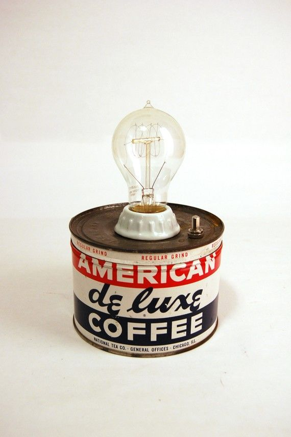 A coffee tin is more than simply a container. Each one represents a series of moments, an after dinner conversation, a holiday with family & friends, a meeting, or a summer camping trip all spent with a cup of coffee in hand. Perfect with a Victorian Style light bulb! #StandardProducts #Lighting #LightBulb